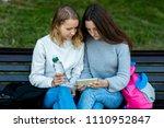 two girlfriends student. summer ... | Shutterstock . vector #1110952847
