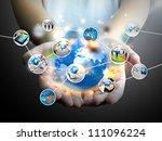 businessman holding social media | Shutterstock . vector #111096224
