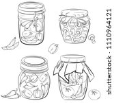 set of jars with vegetables.... | Shutterstock .eps vector #1110964121