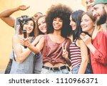 happy millennials friends... | Shutterstock . vector #1110966371