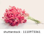 red orchid flowers on grey... | Shutterstock . vector #1110973361