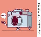 vintage camera character taking ...   Shutterstock .eps vector #1110975824