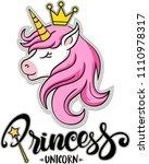 princess unicorn   vector... | Shutterstock .eps vector #1110978317
