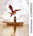 boy standing on an old wooden...   Shutterstock . vector #1110980201