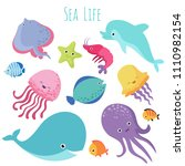 cute baby sea fishes. cartoon... | Shutterstock . vector #1110982154