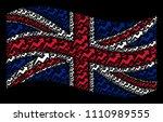 waving british flag on a black... | Shutterstock .eps vector #1110989555