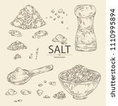 collection of salt  spoon with... | Shutterstock .eps vector #1110995894