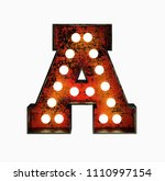 letter a. realistic rusty light ... | Shutterstock . vector #1110997154