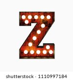 letter z. realistic rusty light ... | Shutterstock . vector #1110997184