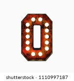number 0. realistic rusty light ... | Shutterstock . vector #1110997187