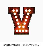 letter v. realistic rusty light ... | Shutterstock . vector #1110997217