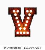 letter v. realistic rusty light ... | Shutterstock . vector #1110997217