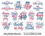 fourth of july  handwritten... | Shutterstock .eps vector #1111001144
