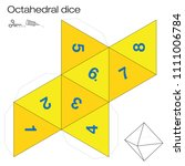 octahedron template  octahedral ... | Shutterstock .eps vector #1111006784