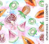 watercolor summer fruit pattern.... | Shutterstock . vector #1111009967