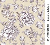 vintage vector pattern with... | Shutterstock .eps vector #1111012337