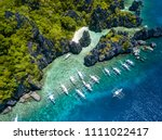 aerial drone view of boats over ... | Shutterstock . vector #1111022417