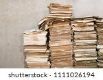 huges piles of old papers. some ... | Shutterstock . vector #1111026194