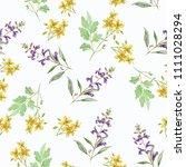 pattern wildflowers watercolor... | Shutterstock . vector #1111028294