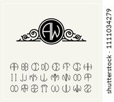 monogram  an baroque label with ... | Shutterstock .eps vector #1111034279