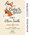 baby shower card with cute... | Shutterstock .eps vector #1111037831