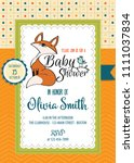 baby shower card with cute... | Shutterstock .eps vector #1111037834