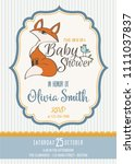 baby shower card with cute... | Shutterstock .eps vector #1111037837