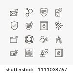 protection icon set and... | Shutterstock .eps vector #1111038767
