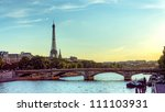 eiffel tower and seine river... | Shutterstock . vector #111103931