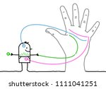 big hand with cartoon character ... | Shutterstock .eps vector #1111041251