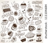 doodle set coffee and sweets | Shutterstock .eps vector #111104684