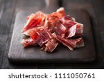 traditional spanish jamon... | Shutterstock . vector #1111050761