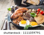 full english breakfast with... | Shutterstock . vector #1111059791