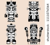 set of 4 tiki totem poles.... | Shutterstock .eps vector #1111076564