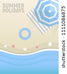 summer holidays poster. blue... | Shutterstock .eps vector #1111086875