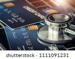 stethoscope on mock up credit...   Shutterstock . vector #1111091231