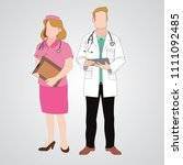 doctor and nurse on the gray... | Shutterstock .eps vector #1111092485