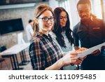 portrait of architects having... | Shutterstock . vector #1111095485