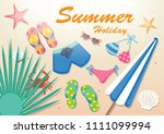flat icon summer flat design...   Shutterstock .eps vector #1111099994