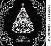 christmas card. christmas tree. ... | Shutterstock .eps vector #111110099