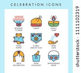 celebration icons for web  app  ... | Shutterstock .eps vector #1111102319