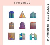 building icons in futuristic... | Shutterstock .eps vector #1111102331
