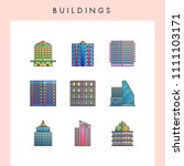 building icons in futuristic... | Shutterstock .eps vector #1111103171
