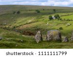 The 9 Maidens Standing Stone Circle in Dartmoor National Park - stock photo