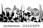 spring black grass silhouette... | Shutterstock .eps vector #1111113374