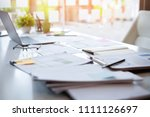 office workplace with laptop... | Shutterstock . vector #1111126697