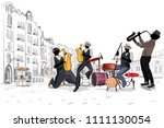 series of the street cafes with ... | Shutterstock .eps vector #1111130054