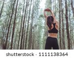 women stretching arms and... | Shutterstock . vector #1111138364