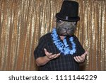 dog faced boy in a photo booth. ...   Shutterstock . vector #1111144229