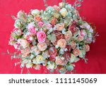 romantic pastel rose wedding... | Shutterstock . vector #1111145069